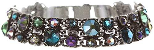 Konplott Waterfalls Armband für Frauen | Exklusiver Designer-Schmuck mit 35 Swarovski-Steinen | Verstellbares Armband | Handgefertigter & limitierter Damen-Schmuck | Modeschmuck für Sie | Grün/Lila