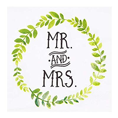 Betop House Mr and Mrs Garland Cocktail Party Beverage Dessert 3-Ply Paper Napkins for Wedding Shower Engagement Anniversary Party Table Decorations, 80-Count