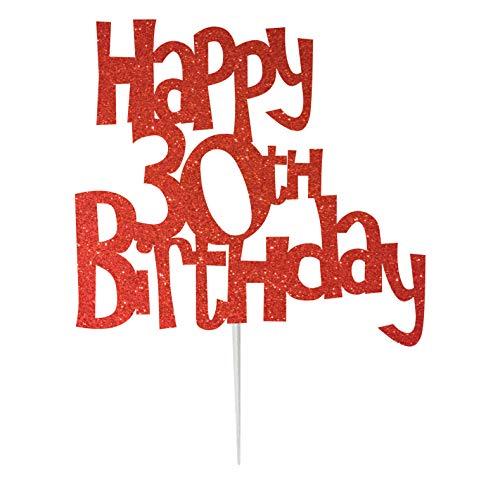 LissieLou Karen's Cake Toppers Décoration pour gâteau d'anniversaire 30 ans Fabriqué au Royaume-Uni Rouge
