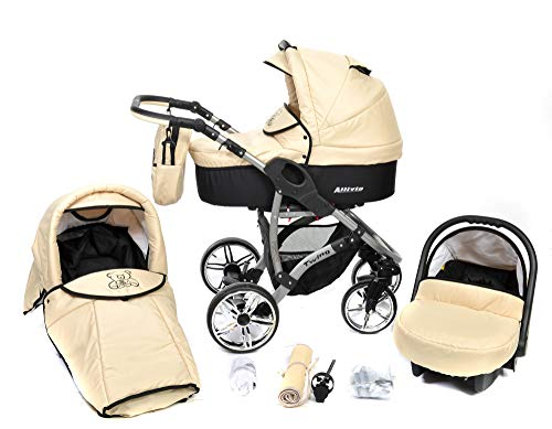 ALLIVIO, 3-in-1 Travel System with Baby Pram, Car Seat, Pushchair & Accessories (3in1 Travel System -Baby tub, Sport seat, Car seat, Black & Beige)