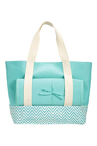 Mountain Warehouse Beach Bag - Includes Mat & Pillow, Lightweight, Over The Shoulder Handle - Best for Summer, Poolside, Hiking, Parks & Gardens Bleu Taille Unique