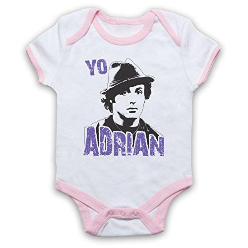 Inspirado por Rocky Yo Adrian No Oficial Bebé Body, Blanco & Rosa Claro, 6-12 Meses