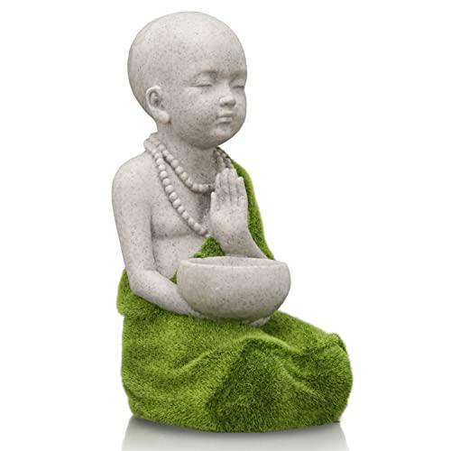 TERESA\'S COLLECTIONS Buddhistischer Mönch Gartendeko Figuren 33cm Buddha Wasserfest Gartenfigur Statue aus Kunstharz für Garten und Haus Desktop Dekoration