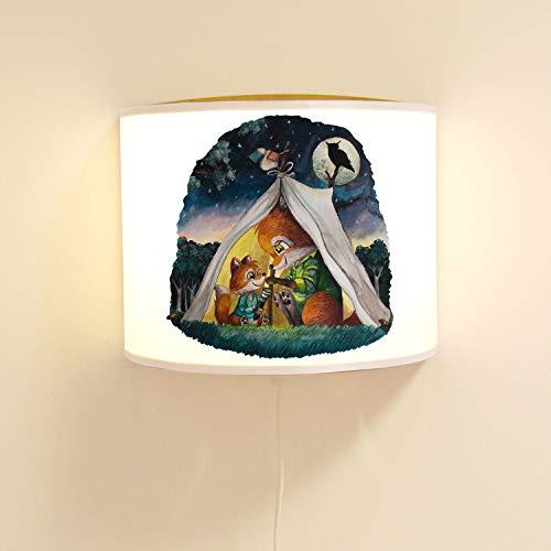 Ilka parey Applique Murale pour Chambre d'enfant avec Renard Papa et Jungle dans la Tente, Lampe à Motif, Lampe de Lecture, Lampe pour Chambre d'enfant ls136