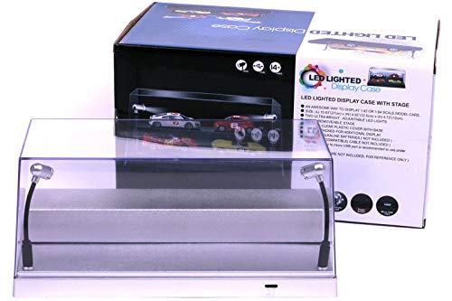 LED Acryl Vitrine - Modellautovitrine mit Beleuchtung für Diecast Modellautos, incl. USB Dimm-Kabel, im Maßstab 1:24, 1:43 oder 1:64, Silberne Basis