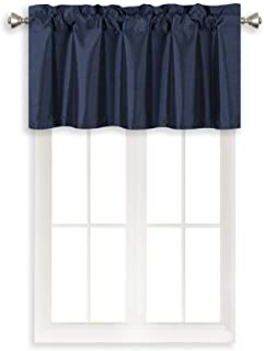 Home Queen Solid Rod Pocket Blackout Curtain Valance Window Treatment for Living Room, Short Straight Drape Valance, Set of 1, 37 X 18 Inch, Navy