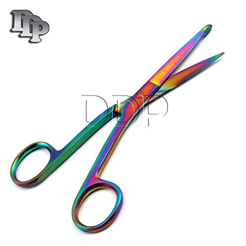 "DDP Multi Titanium Color Rainbow Knowles Bandage Scissors 5 1/2"" Angled Stainless Steel"