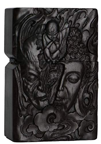 Natural Ebony Black Wood Carved Lighter Shell Box For Zippo Module (Half Buddha &Devil Face)