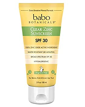 Babo Botanicals Zinc Sunscreen Lotion SPF 30 with 100% Mineral Actives Non-Greasy Water-Resistant Fragrance-Free Vegan For Babies Kids or Sensitive Skin Clear 3 Fl Oz