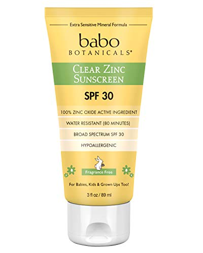 Babo Botanicals Zinc Sunscreen Lotion SPF 30 with 100% Mineral Actives, Non-Greasy, Water-Resistant, Fragrance-Free, Vegan, For Babies, Kids or Sensitive Skin, Clear, 3 Fl Oz