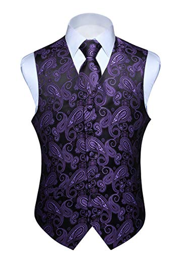 HISDERN Men's Vest Tie Set Purple Black Paisley Floral Jacquard Necktie Pocket Square Handkerchief Classic Retro Waistcoat for Wedding Prom or Tuxedo