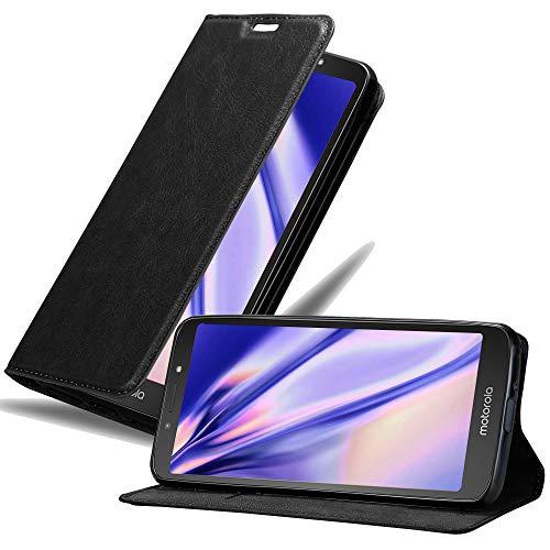 Cadorabo Hülle für Motorola Moto E5 Play in Nacht SCHWARZ - Handyhülle mit Magnetverschluss, Standfunktion & Kartenfach - Hülle Cover Schutzhülle Etui Tasche Book Klapp Style