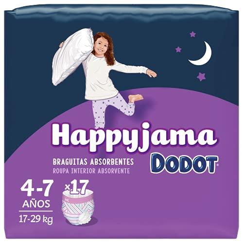 Dodot HappyJama - Pañales Niña 4-7 Años, 17 Unidades, 17-29 kg, Protección anti-fugas Durante La Noche