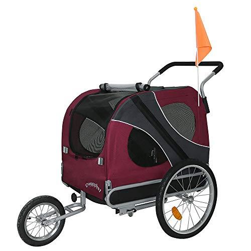 Doggyhut® XXL Hundeanhänger mit Jogger Hundefahrradanhänger Fahrradanhänger 2in1 ROT 10202-01