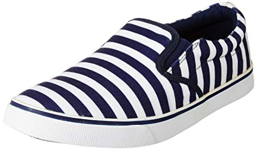 Bourge Men's White and Navy Sneakers-10 UK (44 EU) (11 US) (Reef-48)