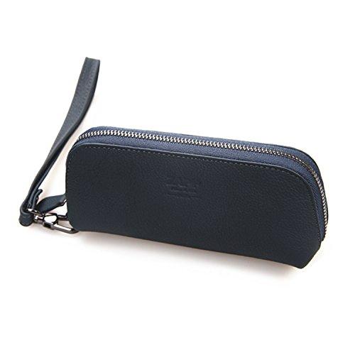 ZAPP-kwaliteit dubbele koe lederen tas voor elektronische doos Mod sigaret (kleur: blauw) Compatibel met de meest populaire merken: Kangertech, Eleaf, Joyetech, Smok (donkerblauw)