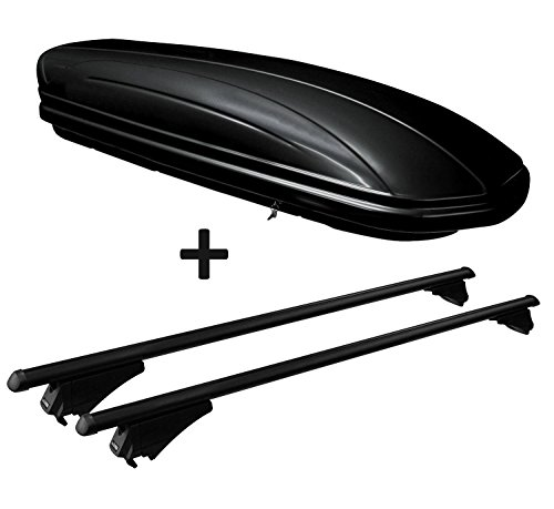VDP Dachbox schwarz glänzend MAA320G günstiger Auto Dachkoffer 320 Liter abschließbar + Alu-Relingträger Dachgepäckträger für aufliegende Reling im Set für VW Passat B8 Variant ab 14