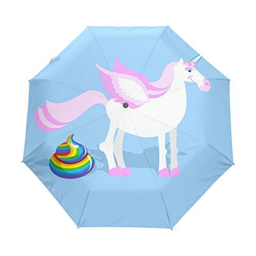 Niedlicher, kompakter Reise-Regenschirm, Einhorn-Kot, faltbarer Regenschirm, winddicht, verstärkter Schirm, UV-Schutz, ergonomischer Griff, automatisches Öffnen/Schließen