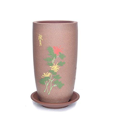 Pot de fleurs BOBE Shop en céramique Ronde de 20CM avec Le récipient de Plante Verte extérieure d'intérieur de Style Chinois (Couleur : Rose)