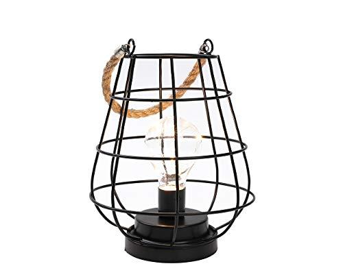 JHY DESIGN Käfig Glühbirne Laterne Dekorative Lampe Batteriebetriebene Akku-Akzentleuchte mit warmweißen Lichterketten LED Edison Glühbirnenlampe für Wohnzimmer schöne Küche Hochzeit (Schwarz)