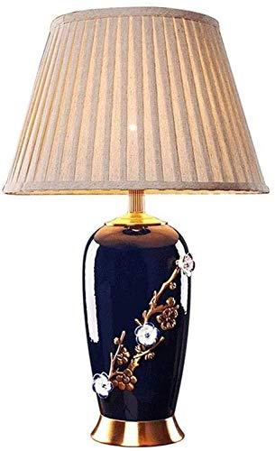 YLSP Lámpara Asiática Tallado Azul De Cerámica, Vasos Canopos Flores Azules De La Densidad For La Sala De Estar Dormitorio Mesilla De Noche De La Familia (Color : -, Size : -)