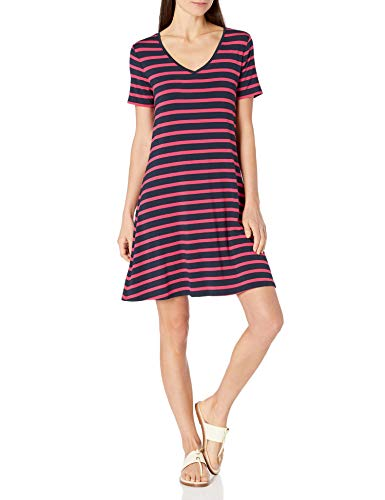 Amazon Essentials Women's Short-Sleeve V-Neck Swing Dress, French Stripe Red, Small