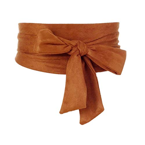 Chinashow Damen Micro Wildleder Taille Gürtel Obi Taillenband Breite Boho Band selbst Tie Wrap Korsett Kamel