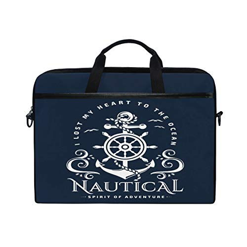 HaJie Laptop Bag Navy Nautical Ocean Anchor Quote Computer Case 14-14.5 in Protective Bag Travel Briefcase with Shoulder Strap for Men Women Boy Girls