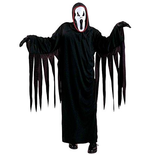 Amakando Kinder Scream Kostüm Geist Kinderkostüm schwarz M 140 cm 8-10 Jahre Gespenst Halloweenkostüm Horrorkostüm Sensenmann Geisterkostüm Ghost Gevatter Tod Grim Reaper Horror Verkleidung Halloween