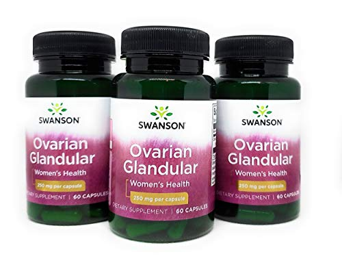 Swanson Ovarian Glandular Women's Hormone Ovarian Health Hormonal Balance Support Supplement 250 mg 60 Capsules (3 Pack)