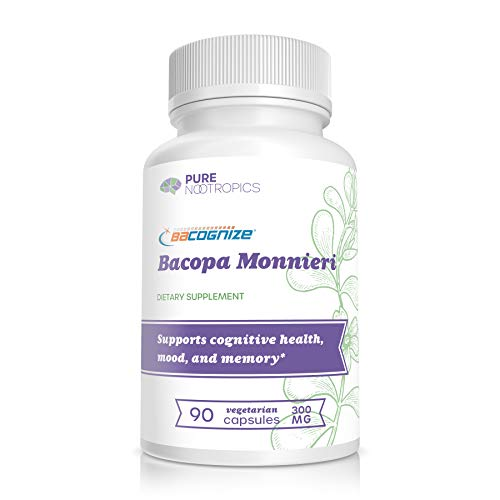 BaCognize® Bacopa Monnieri Extract 300 mg – Improve Memory & Learning – Reduce Stress & Anxiety – 90 Vegetarian Capsules – Pure Nootropics