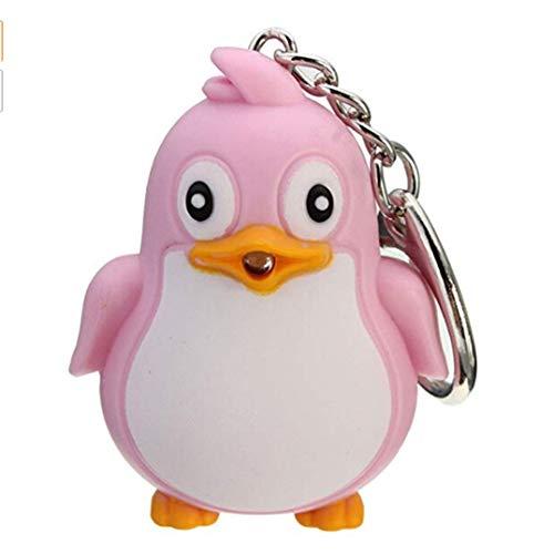 Garispace Cartoon Pinguin Schlüsselanhänger Licht & Sound Schlüsselanhänger Kleiner Pinguin Design Led Schlüsselanhänger Taschenlampe Anhänger Handytasche Zubehör(Rosa Pinguin)