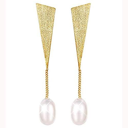 ZHIRCEKE S925 Sterling Silver Earrings With Natural Pearl Spreaders Earrings Triangle Dangle Earring Earrings for Ladies, Unique Handmade Jewelry,Gold
