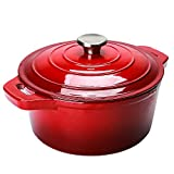 Puricon Emaille Gusseisen Kochtopf Backblech, 5.2 L 26 cm Kapazität Auflauf mit runder Kapazität - Rot