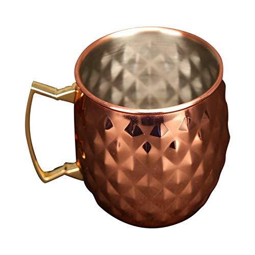 Taza Moscú de 500 ml con forro de acero inoxidable Moscú Mule Copas de cobre con mango cómodo Rus tproof Tproof Tazas de cobre chapado en cobre Copa de cerveza Fiesta Bar de viaje