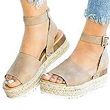 Aniywn Open Toe Casual Ankle Strap Sandals,Women Platform Espadrille Ankle Strap Studded Open Toe Sandals Khaki