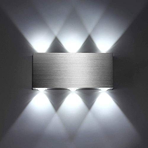 Homecasa Lámpara de Pared Led para Interior de 6W Moderna Aplique de Pared de Aluminio Plateado para Dormitorio Pasillo Escaleras Salon KTV Blanco Frío