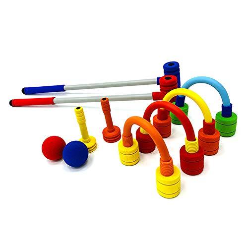 FOREVIVE Children's Croquet Set Elastic Sponge Double Croquet Set Indoor and Outdoor Children's Training Rubber Foam Toy Suitable for Lawn, Backyard, Park, Etc