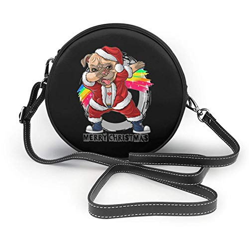 Santa Claus The Cute Pug Shoulder Leather Bag, Small Shoulder Bag,Ultralight Purse, Washable Crossbody Purse, for Women