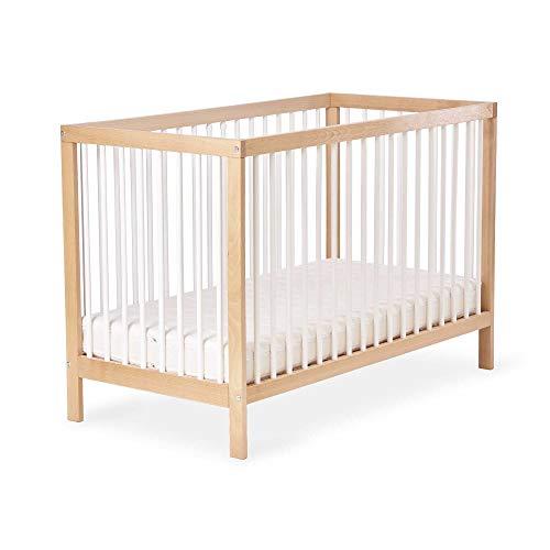 Ehrenkind® Babybett PUR 140x70 aus Natur Buchenholz | Kinderbett dreifach höhenverstellbar mit entnehmbaren Stangen