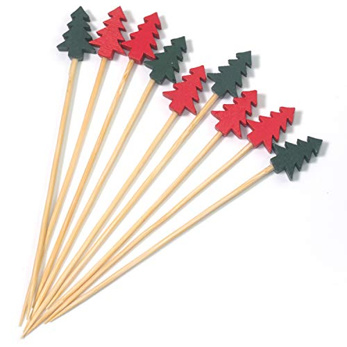 PuTwo Cocktail Sticks 100 Stück 12 cm Bambus Cocktail Picks Party Picks Essen Zahnstocher Food Picks Cocktail Zubehör für Cocktailparty