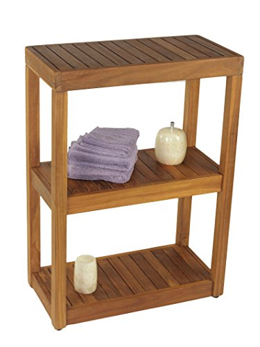 AquaTeak The Original Sula Rectangle Three Tier Teak Bath Stand
