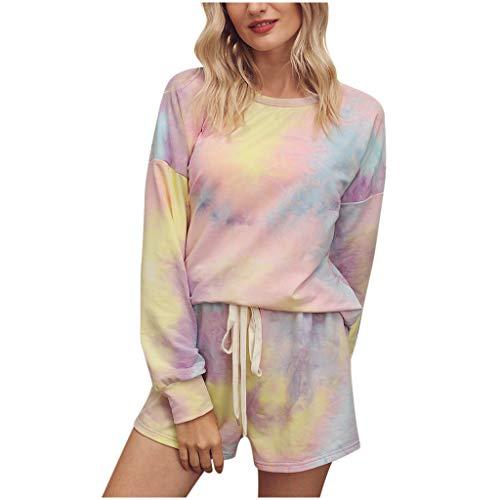 Dasongff Damen Suit Sommer Langarmshirt + Shorts Pyjama Set Farbverlauf Trainingsanzug Kurz Schlafanzug Rund Ausschnitt Zweiteiliger Sleepshirt Streetwear Regular Fit