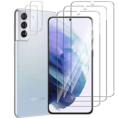 GEEMEE per Samsung Galaxy S21 Plus/S21+ Pellicola Vetro Temperato+Fotocamera Vetro temperato (3 Pezzi+2 Pezzi), 9H Protezione Schermo, Anti Graffi HD Trasparenza Protettiva Screen Protector