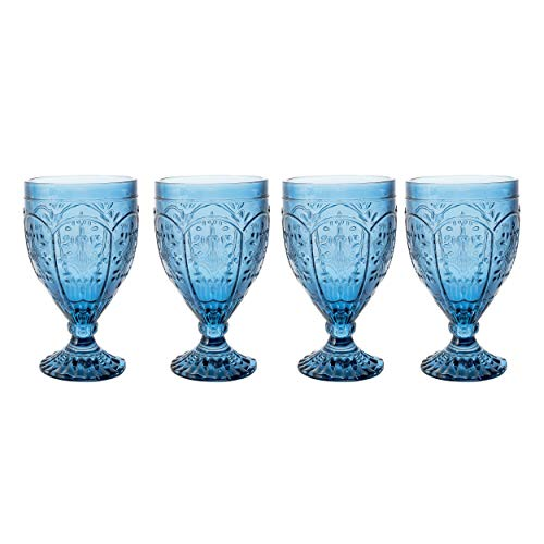 Fitz and Floyd Trestle Glassware Ornate Goblets, Set of 4, Indigo