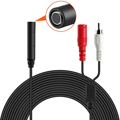 Microfono ad Alta sensibilità per Telecamera CCTV/IP/DVR/NVR, Mini Microfono per Videocamera Esterna, Cavo 18M, con Splitter di Alimentazione, Senza Alimentatore, AP1-2B, Nero