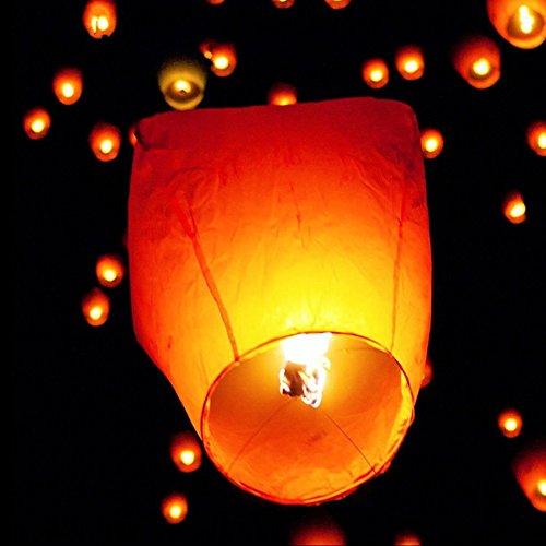 iiniim 10_LANTERBIA_DE, Conf. 100 Lanterne Cinesi Volanti Unisex Adulto, Bianco, Taglia Unica