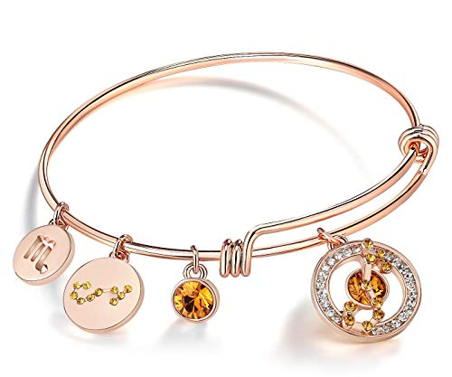 Leafael Superstar Scorpio Zodiac Expandable Bangle Bracelet Made with Premium Crystals Horoscope Constellation October November Birthstone Topaz Brown Jewelry, Rose Gold Plated, 7'
