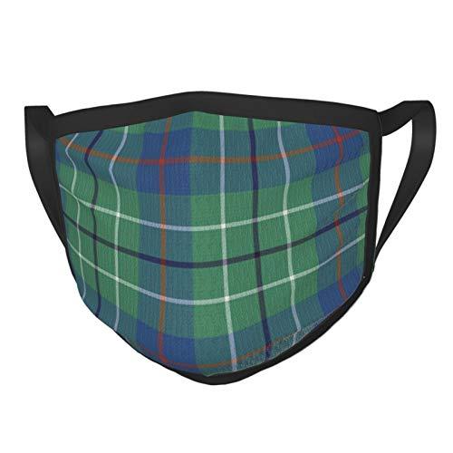 Tuch Masken mit Ohr Elastische Mode Schal Skala Mini Duncan Tartan Grau Waschbar Wiederverwendbare Atmungsaktive Mund-Nasen-Abdeckung Bandana Schwarz