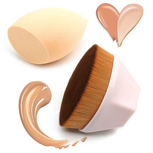 Pinceau de fond de teint, pinceau plat et éponge de maquillage pour crème poudre, liquide, poudre et maquillage (rose)